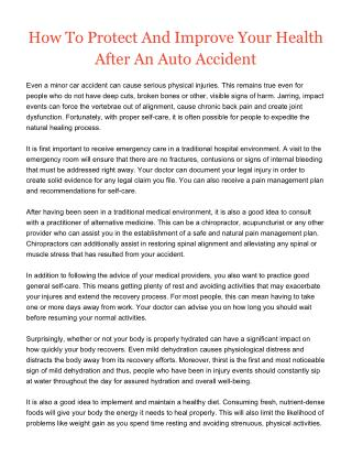 How To Protect And Improve Your Health After An Auto Accident