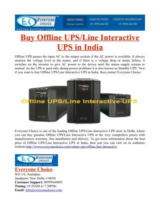 Buy Offline UPS/Line Interactive UPS in India