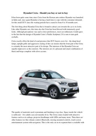 Hyundai Creta - Should you buy or not to buy