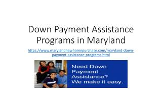 Maryland Down Payment Assistance Programs