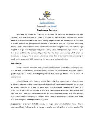 Customer Service - LogisticsAcademy.org