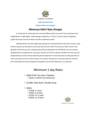Minimum Shipping Rates - LogisticsAcademy.org