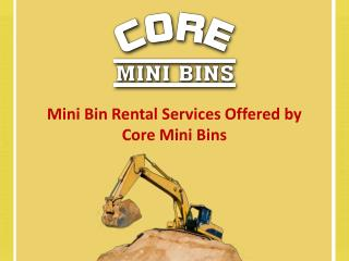Mini Bin Rental Services Offered By Core Mini Bins