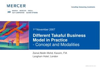 Different Takaful Business Model in Practice  - Concept and Modalities