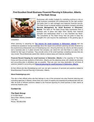 Small Business Financial Planning in Edmonton Alberta