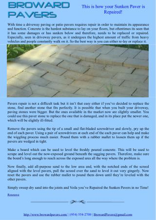 This is how your Sunken Paver is Repaired!