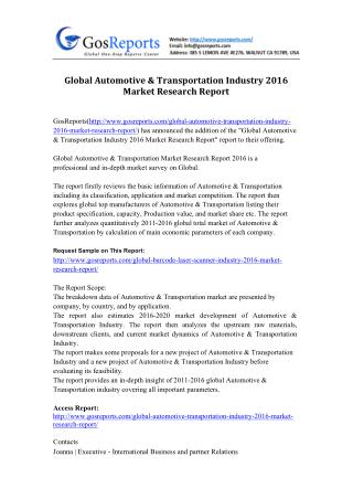 Global Automotive & Transportation Industry 2016 Market Research Report
