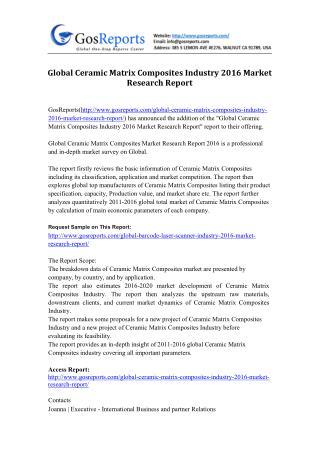 Global Ceramic Matrix Composites Industry 2016 Market Research Report