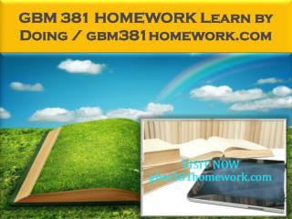 GBM 381 HOMEWORK Learn by Doing / gbm381homework.com