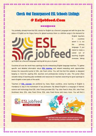 Check Out Unsurpassed ESL Schools Listings