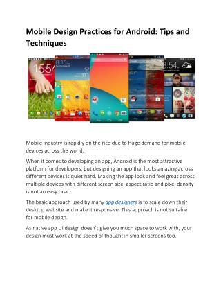 Mobile Design Practices for Android: Tips and Techniques