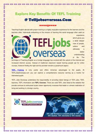 Explore Key Benefits Of TEFL Training