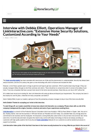 "Interview with Debbie Elliott, Operations Manager of LinkInteractive.com: ""Extensive Home Security Solutions, Customized"