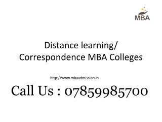 Distance learning/ Correspondence MBA Colleges
