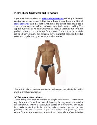 Men's Thong Underwear and Its Aspects