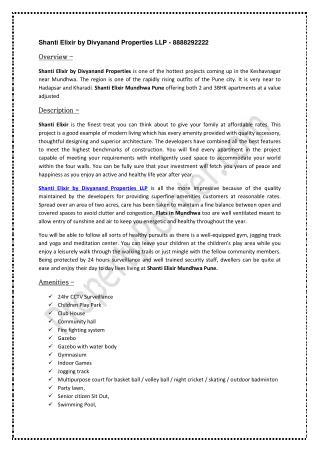 Shanti Elixir by Divyanand Properties LLP - 8888292222