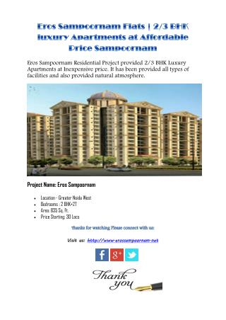 Eros Sampoornam Flats | 2/3 BHK luxury Apartments at Affordable Price Sampoornam