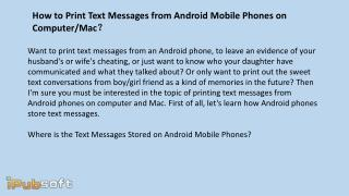 How to Print Text Messages from Android Mobile Phones on Computer Mac