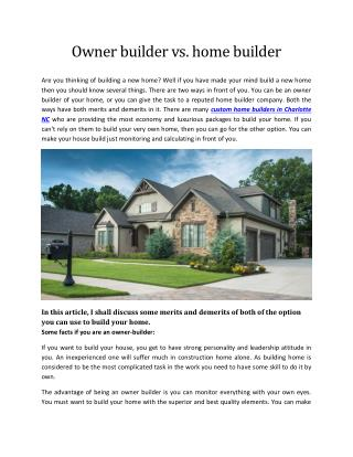 Owner builder vs. home builder