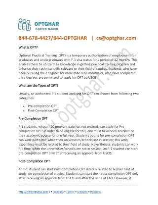 What is OPT? Types of Optional Practical Training: F1 Student at OPT GHAR
