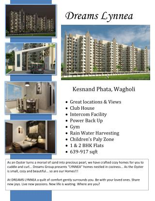 New Residential Project at Dreams Lynnea in Wagholi
