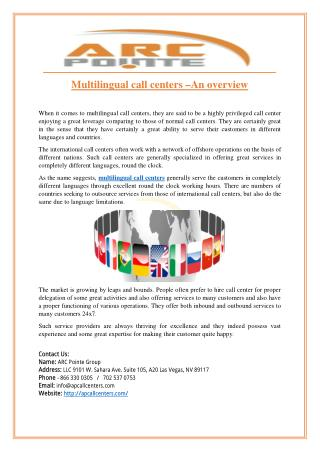 Multilingual call centers –An overview