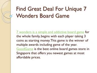 Find Great Deal For Unique 7 Wonders Board Game
