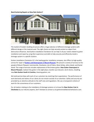 Gutter Replacement Cost Charleston