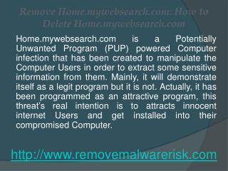 Remove Home.mywebsearch.com from Infected Windows PC