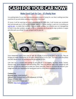 Make Good Cash for Cars – It's Realty Now