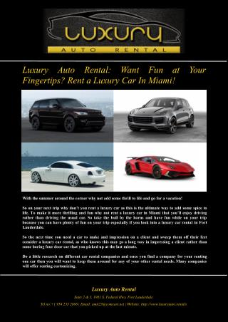 Luxury Auto Rental: Want Fun at Your Fingertips? Rent a Luxury Car In Miami!