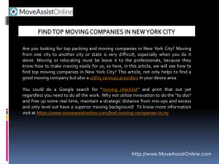 Are You Searching for Moving Companies in New York?