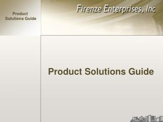 Product Solutions Guide