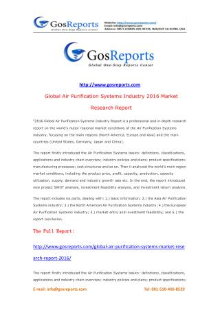 Global Air Purification Systems Market Research Report 2016