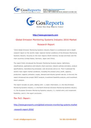 Global Emission Monitoring Systems Market Research Report 2016