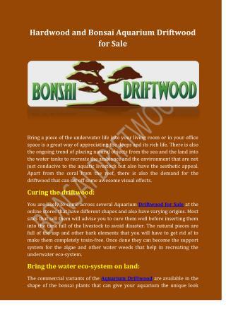 Hardwood and Bonsai Aquarium Driftwood for Sale