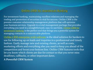 OnSite CRM for Investment Banking