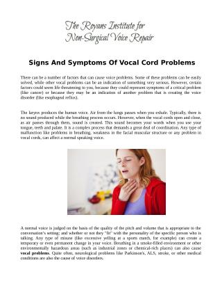 Signs And Symptoms Of Vocal Cord Problems