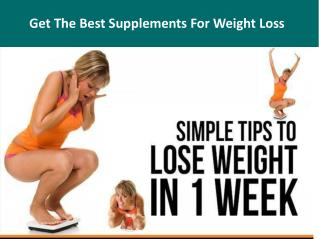 Get The Best Supplements For Weight Loss