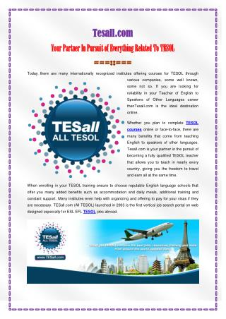 Your Partner In Pursuit of Everything Related To TESOL