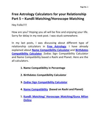 Free Astrology Calculators for your Relationship Part 5 – Kundli Matching/Horoscope Matching