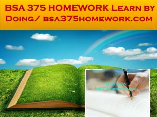 BSA 375 HOMEWORK Learn by Doing/ bsa375homework.com