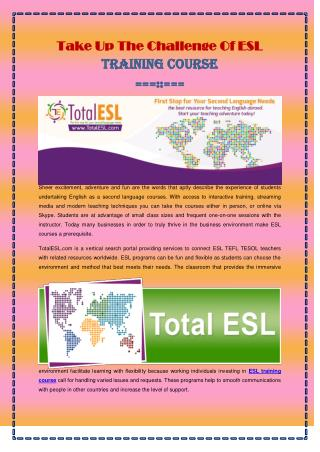 Take Up The Challenge Of ESL Training Course
