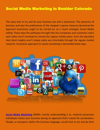 Social Media Marketing in Boulder Colorado