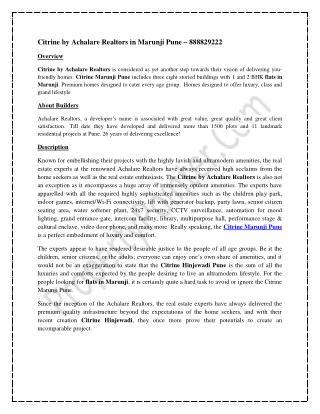 Citrine by Achalare Realtors in Marunji Pune - 8888292222