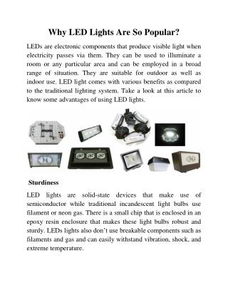 Why LED Lights Are So Popular?