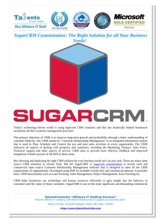 SugarCRM Customization: The Right Solution for all Your Business Needs!