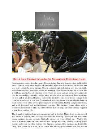 Hire A Horse Carriage In London For Personal And Professional Events