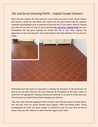 Tile and Grout Cleaning Perth – Capital Carpet Cleaners