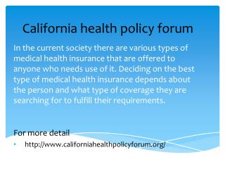 California health policy forum